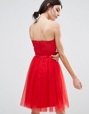 photo Corset Dress with Tulle Skirt by Chi Chi London Petite, color Red - Image 2
