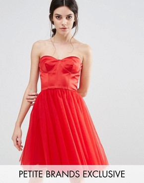 photo Corset Dress with Tulle Skirt by Chi Chi London Petite, color Red - Image 1