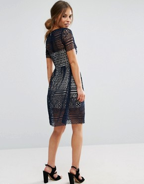 photo Allover Lace Midi Skater Dress by Paper Dolls Petite, color Navy - Image 2