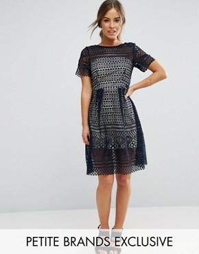 photo Allover Lace Midi Skater Dress by Paper Dolls Petite, color Navy - Image 1