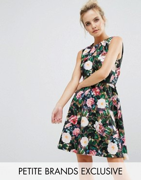 photo Allover Floral Print Skater Dress by Paper Dolls Petite, color  - Image 1