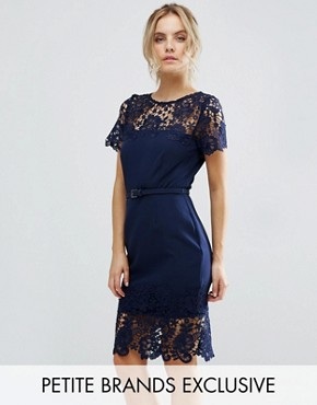 photo Lace Contrast Midi Ribbed Pencil Dress with Belt by Paper Dolls Petite, color Navy - Image 1