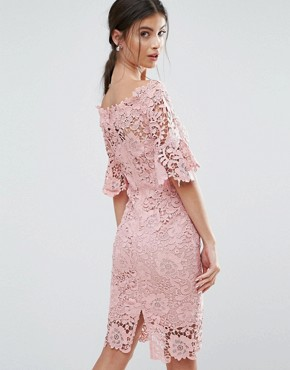 photo Bardot Allover Lace Pencil Dress by Paper Dolls Petite, color Blush - Image 2