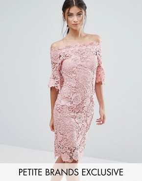 photo Bardot Allover Lace Pencil Dress by Paper Dolls Petite, color Blush - Image 1
