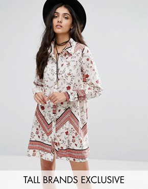 photo Swing Shirt Dress in Mix and Match Print by Glamorous Tall, color Floral - Image 1