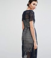 photo Allover Lace Midi Skater Dress by Paper Dolls Tall, color Navy - Image 2
