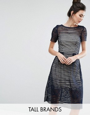 photo Allover Lace Midi Skater Dress by Paper Dolls Tall, color Navy - Image 1