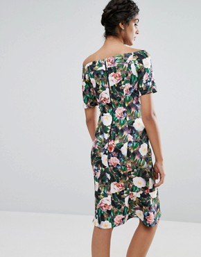 photo Allover Floral Print Off Shoulder Pencil Midi Dress by Paper Dolls Tall, color  - Image 2