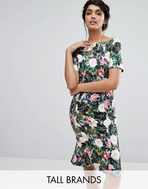 photo Allover Floral Print Off Shoulder Pencil Midi Dress by Paper Dolls Tall, color  - Image 1