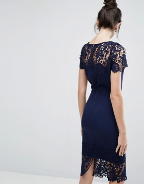 photo Lace Contrast Midi Ribbed Pencil Dress with Belt by Paper Dolls Tall, color Navy - Image 2