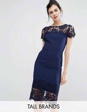 photo Lace Contrast Midi Ribbed Pencil Dress with Belt by Paper Dolls Tall, color Navy - Image 1