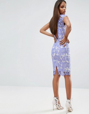 photo Allover Lace Pencil Dress with Plunge Back by Paper Dolls Tall, color Bluebelle - Image 2