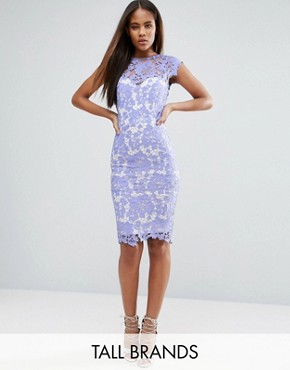 photo Allover Lace Pencil Dress with Plunge Back by Paper Dolls Tall, color Bluebelle - Image 1