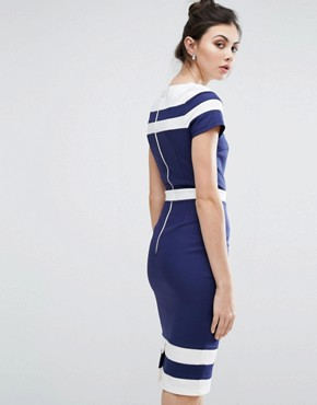 photo Contrast Pencil Dress by Paper Dolls Tall, color Navy/Cream - Image 2