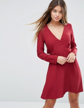 photo Ruffle Tea Dress with Open Back by ASOS, color Red - Image 2