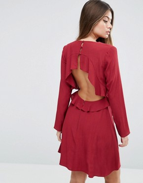 photo Ruffle Tea Dress with Open Back by ASOS, color Red - Image 1