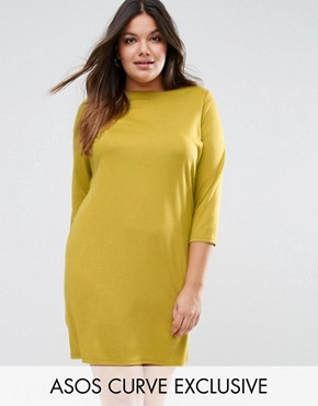 photo Ponte Shift Dress with 3/4 Sleeve by ASOS CURVE, color Chartreus - Image 1