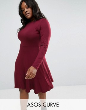 photo Jersey Dress With Frill Hem by ASOS CURVE, color Dark Berry - Image 1