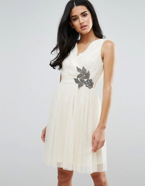 photo Embellished Prom Dress by Little Mistress, color Cream - Image 1