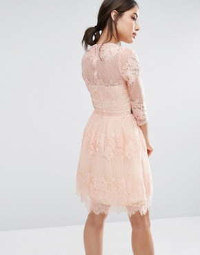 photo Lace Overlay 3/4 Sleeve Dress by Little Mistress, color Peach - Image 2