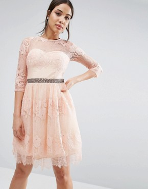 photo Lace Overlay 3/4 Sleeve Dress by Little Mistress, color Peach - Image 1