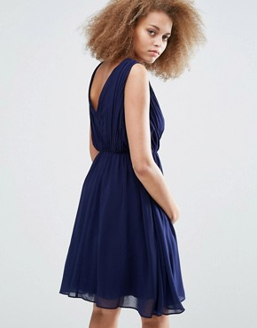 photo Applique Crossover Dress by Little Mistress, color Navy - Image 2