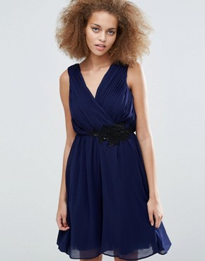 photo Applique Crossover Dress by Little Mistress, color Navy - Image 1