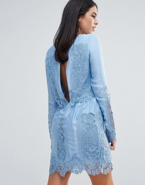 photo Verona Long Sleeved Lace Mini Dress by The Jetset Diaries, color Blue - Image 2