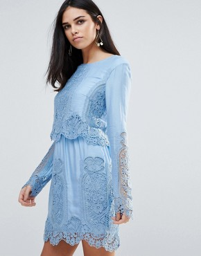 photo Verona Long Sleeved Lace Mini Dress by The Jetset Diaries, color Blue - Image 1