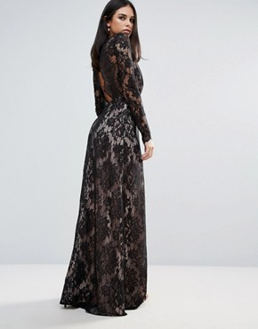 photo Pizzo Wrap Lace Insert Maxi Dress by The Jetset Diaries, color Black - Image 2
