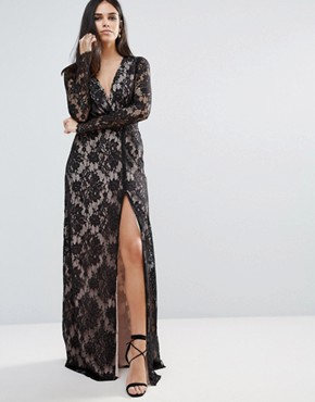 photo Pizzo Wrap Lace Insert Maxi Dress by The Jetset Diaries, color Black - Image 1