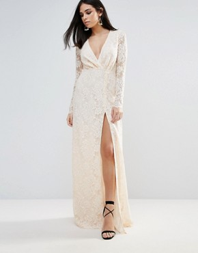 photo Pizzo Wrap Lace Insert Maxi Dress by The Jetset Diaries, color Blush - Image 1