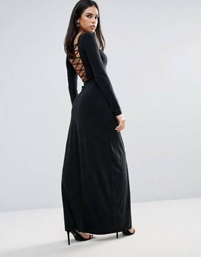 photo Novella Lace Up Maxi Dress by The Jetset Diaries, color Black - Image 2