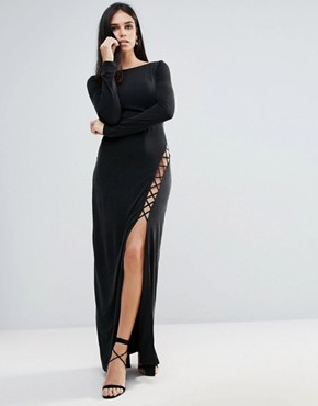 photo Novella Lace Up Maxi Dress by The Jetset Diaries, color Black - Image 1