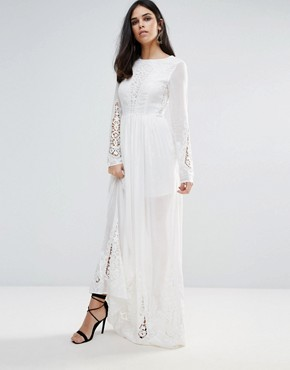 photo Lace Sleeve Maxi Dress by The Jetset Diaries, color Ivory - Image 1