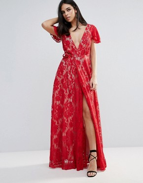 photo Piazza Lace A-Line Maxi Dress by The Jetset Diaries, color Ruby - Image 1