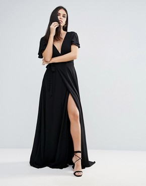 photo Lorenzo Deep V Neck Maxi Dress by The Jetset Diaries, color Black - Image 1