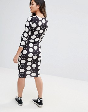 photo Spot Midi Bodycon Dress by ASOS Maternity, color White Spot - Image 2