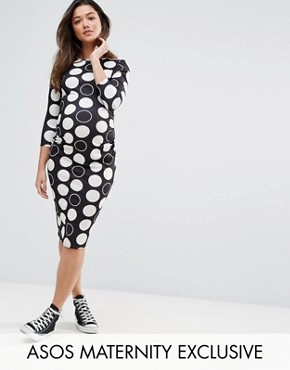 photo Spot Midi Bodycon Dress by ASOS Maternity, color White Spot - Image 1