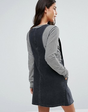 photo Denim Pinafore Dress in Washed Black by ASOS Maternity, color Washed Black - Image 2