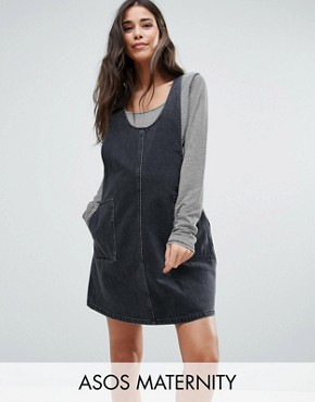photo Denim Pinafore Dress in Washed Black by ASOS Maternity, color Washed Black - Image 1