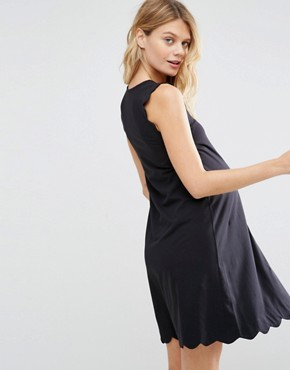 photo Shift Dress With Scallop Detail by ASOS Maternity, color Black - Image 2