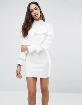 photo Crepe Frill Dress by Missguided, color White - Image 1