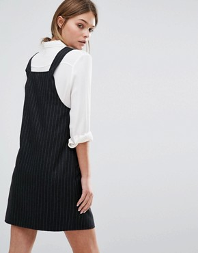photo Pinstripe Pinny Dress by New Look, color Black - Image 2