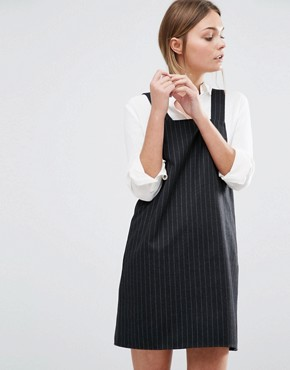 photo Pinstripe Pinny Dress by New Look, color Black - Image 1