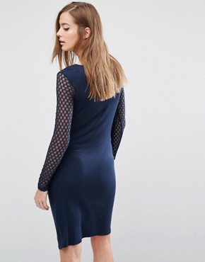 photo Maternity Dress With Mesh Detail by Mamalicious, color Navy Blazer - Image 2