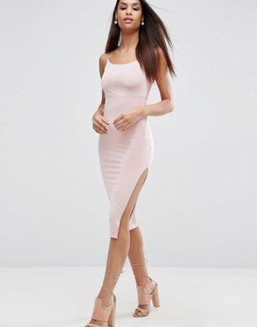photo Slinky Midi Dress With Strappy Tie Back by ASOS, color Champagne - Image 1