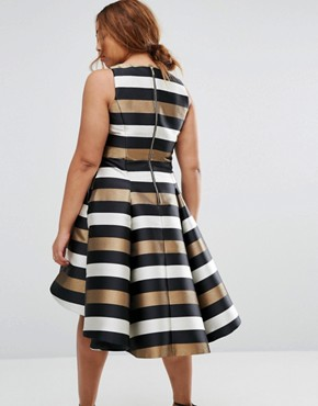 photo Metallic Stripe Fit and Flare Dress by Coast Plus, color  - Image 2