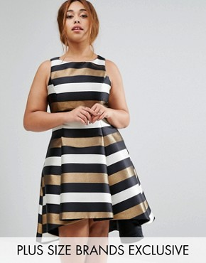 photo Metallic Stripe Fit and Flare Dress by Coast Plus, color  - Image 1