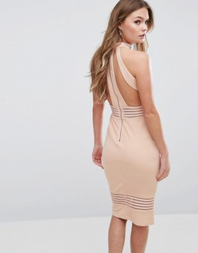 photo High Neck Midi Dress with Sheer Pannels by Ginger Fizz, color Nude - Image 2